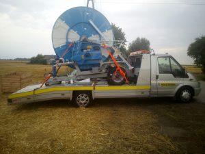 maszyna rolnicza - holowanie - laweta łódź
